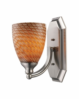 570-1N-C Elk Bath And Spa 1 Light Vanity In Satin Nickel And Cocoa Glass