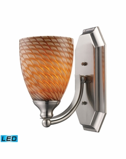 570-1N-C-LED Elk Bath And Spa 1 Light LED Vanity In Satin Nickel And Cocoa Glass
