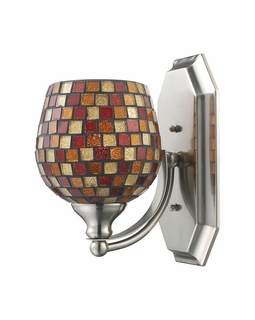 570-1N-MLT Elk Bath And Spa 1 Light Vanity In Satin Nickel And Multi Fusion Glass