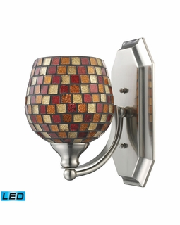570-1N-MLT-LED Elk Bath And Spa 1 Light LED Vanity In Satin Nickel And Multi Fusion Glass