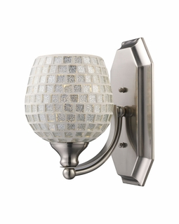 570-1N-SLV Elk Bath And Spa 1 Light Vanity In Satin Nickel And Silver Glass
