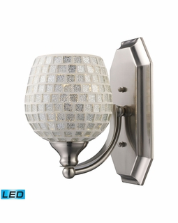 570-1N-SLV-LED Elk Bath And Spa 1 Light LED Vanity In Satin Nickel And Silver Glass