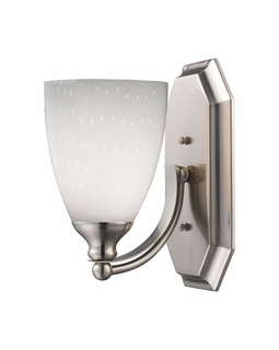 570-1N-WH Elk Bath And Spa 1 Light Vanity In Satin Nickel And Simple White Glass