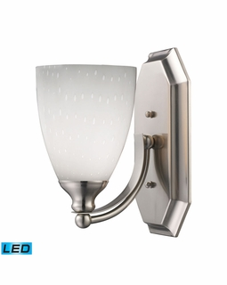 570-1N-WH-LED Elk Bath And Spa 1 Light LED Vanity In Satin Nickel And Simple White Glass