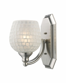 570-1N-WHT Elk Bath And Spa 1 Light Vanity In Satin Nickel And White Glass