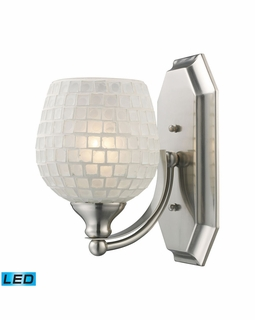570-1N-WHT-LED Elk Bath And Spa 1 Light LED Vanity In Satin Nickel And White Glass
