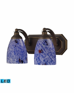 570-2B-BL-LED Elk Bath And Spa 2 Light LED Vanity In Aged Bronze And Starburst Blue Glass