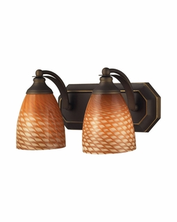 570-2B-C Elk Bath And Spa 2 Light Vanity In Aged Bronze And Cocoa Glass