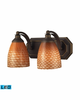 570-2B-C-LED Elk Bath And Spa 2 Light LED Vanity In Aged Bronze And Cocoa Glass