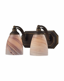 570-2B-CR Elk Bath And Spa 2 Light Vanity In Aged Bronze And Creme Glass