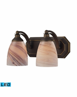 570-2B-CR-LED Elk Bath And Spa 2 Light LED Vanity In Aged Bronze And Creme Glass