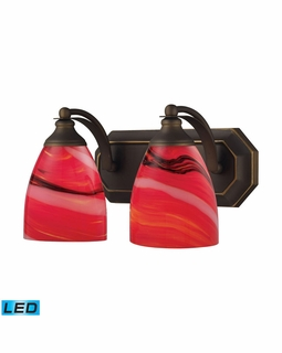 570-2B-CY-LED Elk Bath And Spa 2 Light LED Vanity In Aged Bronze And Candy Glass