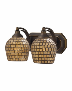 570-2B-GLD Elk Bath And Spa 2 Light Vanity In Aged Bronze And Gold Leaf Glass