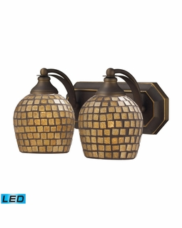 570-2B-GLD-LED Elk Bath And Spa 2 Light LED Vanity In Aged Bronze And Gold Leaf Glass