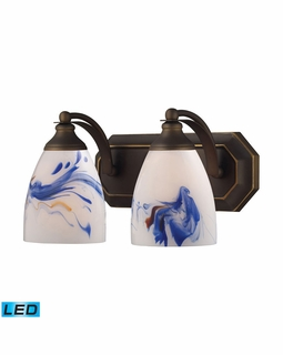 570-2B-MT-LED Elk Bath And Spa 2 Light LED Vanity In Aged Bronze And Mountain Glass