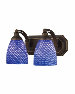 570-2B-S Elk Bath And Spa 2 Light Vanity In Aged Bronze And Sapphire Glass