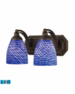 570-2B-S-LED Elk Bath And Spa 2 Light LED Vanity In Aged Bronze And Sapphire Glass