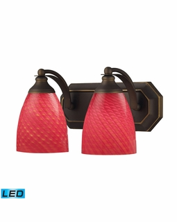 570-2B-SC-LED Elk Bath And Spa 2 Light LED Vanity In Aged Bronze And Scarlet Red Glass