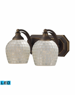 570-2B-SLV-LED Elk Bath And Spa 2 Light LED Vanity In Aged Bronze And Silver Glass