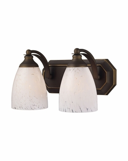 570-2B-SW Elk Bath And Spa 2 Light Vanity In Aged Bronze And Snow White Glass