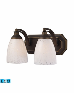 570-2B-SW-LED Elk Bath And Spa 2 Light LED Vanity In Aged Bronze And Snow White Glass