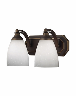 570-2B-WH Elk Bath And Spa 2 Light Vanity In Aged Bronze And Simple White Glass