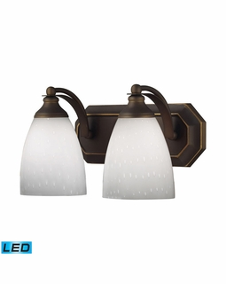 570-2B-WH-LED Elk Bath And Spa 2 Light LED Vanity In Aged Bronze And Simple White Glass