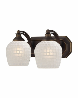 570-2B-WHT Elk Bath And Spa 2 Light Vanity In Aged Bronze And White Glass