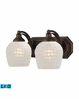 570-2B-WHT-LED Elk Bath And Spa 2 Light LED Vanity In Aged Bronze And White Glass