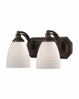 570-2B-WS Elk Bath And Spa 2 Light Vanity In Aged Bronze And White Swirl Glass