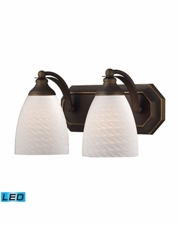 570-2B-WS-LED Elk Bath And Spa 2 Light LED Vanity In Aged Bronze And White Swirl Glass