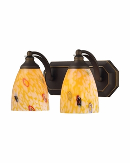 570-2B-YW Elk Bath And Spa 2 Light Vanity In Aged Bronze And Yellow Glass