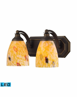 570-2B-YW-LED Elk Bath And Spa 2 Light LED Vanity In Aged Bronze And Yellow Glass