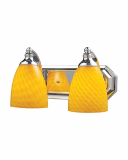 570-2C-CN Elk Bath And Spa 2 Light Vanity In Polished Chrome And Canary Glass