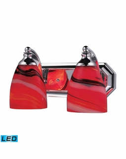 570-2C-CY-LED Elk Bath And Spa 2 Light LED Vanity In Polished Chrome And Candy Glass