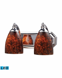 570-2C-ES-LED Elk Bath And Spa 2 Light LED Vanity In Polished Chrome And Espresso Glass