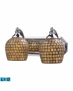 570-2C-GLD-LED Elk Bath And Spa 2 Light LED Vanity In Polished Chrome And Gold Leaf Glass