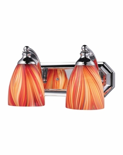 570-2C-M Elk Bath And Spa 2 Light Vanity In Polished Chrome And Multi Glass