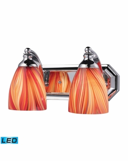 570-2C-M-LED Elk Bath And Spa 2 Light LED Vanity In Polished Chrome And Multi Glass