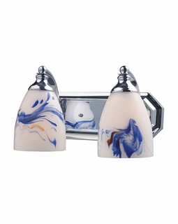570-2C-MT Elk Bath And Spa 2 Light Vanity In Polished Chrome And Mountain Glass