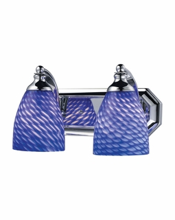 570-2C-S Elk Bath And Spa 2 Light Vanity In Polished Chrome And Sapphire Glass