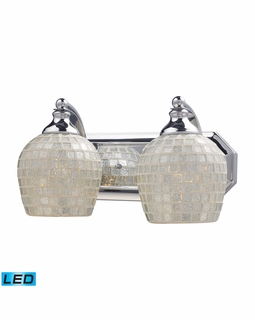570-2C-SLV-LED Elk Bath And Spa 2 Light LED Vanity In Polished Chrome And Silver Glass