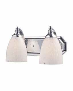 570-2C-SW Elk Bath And Spa 2 Light Vanity In Polished Chrome And Snow White Glass