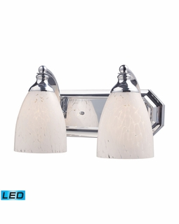 570-2C-SW-LED Elk Bath And Spa 2 Light LED Vanity In Polished Chrome And Snow White Glass