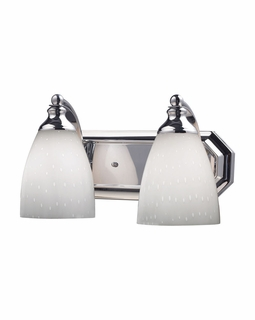 570-2C-WH Elk Bath And Spa 2 Light Vanity In Polished Chrome And Simple White Glass