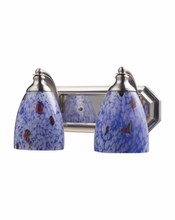 570-2N-BL Elk Bath And Spa 2 Light Vanity In Satin Nickel And Starburst Blue Glass