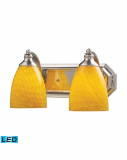 570-2N-CN-LED Elk Bath And Spa 2 Light LED Vanity In Satin Nickel And Canary Glass