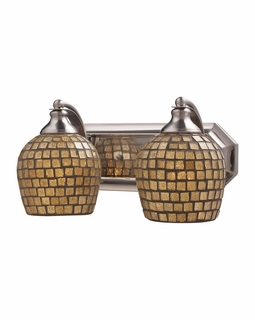 570-2N-GLD Elk Bath And Spa 2 Light Vanity In Satin Nickel And Gold Leaf Glass