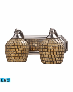 570-2N-GLD-LED Elk Bath And Spa 2 Light LED Vanity In Satin Nickel And Gold Leaf Glass