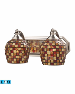 570-2N-MLT-LED Elk Bath And Spa 2 Light LED Vanity In Satin Nickel And Multi Fusion Glass